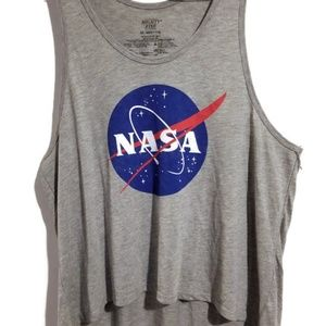 Nasa High Low Crop Heather Tank Top Sleep Exercise